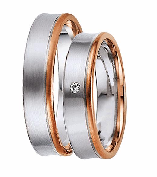 [Цена за 2 кольца]Комбинированные обручальные кольца с белым и красным золотом ArtNeva