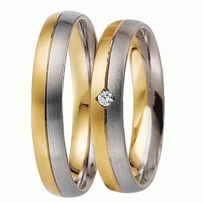 [Цена за 2 кольца]Комбинированные свадебные кольца с бриллиантом из коллекции ArtNeva