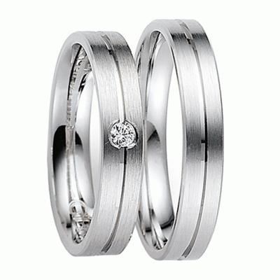 [Цена за 2 кольца]Матовые обручальные кольца из белого золота с бриллиантом