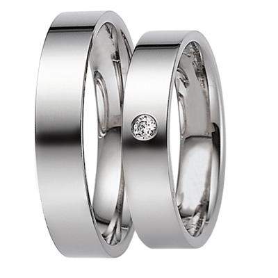 [Цена за 2 кольца]Парные обручальные кольца из белого золота с бриллиантом ArtNeva