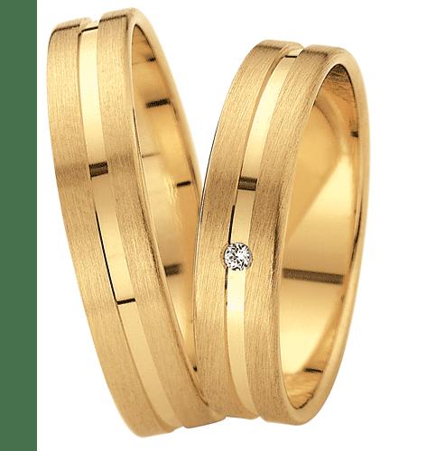 [Цена за 2 кольца] Золотые свадебные кольца с бриллиантом ArtNeva