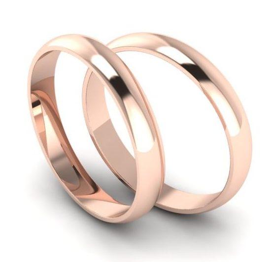 Тонкие обручальные кольца из красного золота 3мм шириной арт 7070