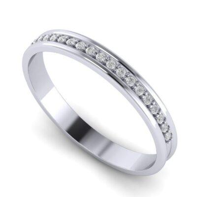 Парные обручальные кольца из белого золота с бриллиантами ArtNeva, арт. 20219/6