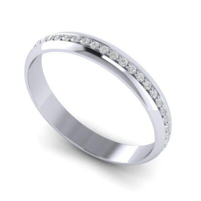 Обручальное кольцо из платины с дорожкой бриллиантов.  арт 6958