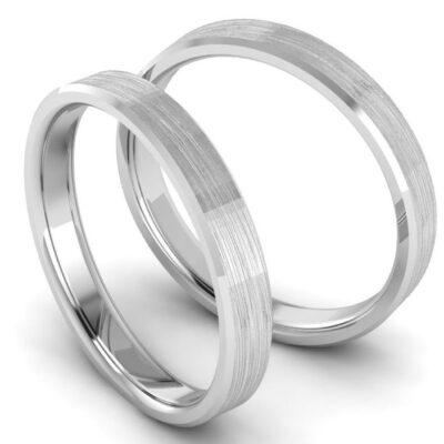 Обручальные кольца из белого золота с матовкой шириной 3 мм арт 7076