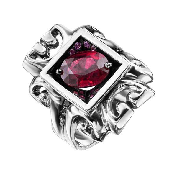 Золотое кольцо с красным сапфиром и бриллиантами арт2648