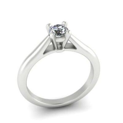 Помолвочное кольцо с единичным бриллиантом 0.3ct  из белого золота  арт 7294