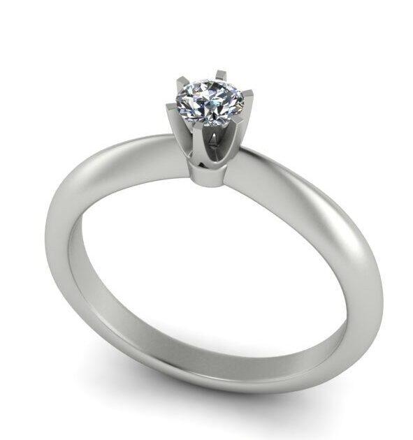 Помолвочное кольцо из белого золота с бриллиантом 0. 17 ct  арт 7290