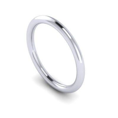 Обручальное кольцо из платины 2 мм круглое  арт 7238